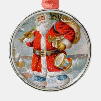 Gorgeous American Patriotic Christmas Santa Silver-Colored Round Decoration