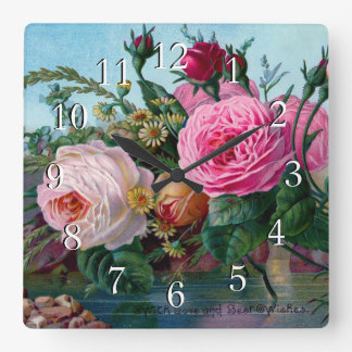 Gorgeous and Elegant Roses Square Wall Clock