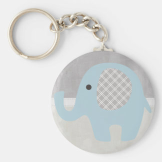 Gorgeous Baby Elephant in Blue Basic Round Button Key Ring