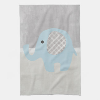 Gorgeous Baby Elephant in Blue Tea Towel