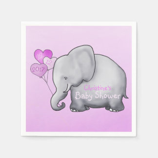Gorgeous Balloons Elephant Pink Girl Baby Shower Disposable Napkin