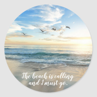 Gorgeous Beach Scene Classic Round Sticker