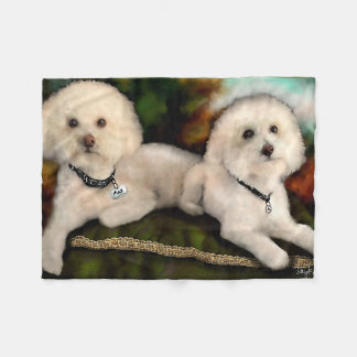 Gorgeous Bichon Poodle Pair, Male Female Fleece Blanket