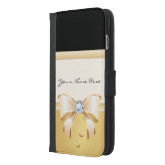 Gorgeous Black & Distressed Gold with Cute Bow iPhone 6/6s Plus Wallet Case