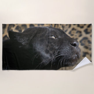 Gorgeous black panther leopard beach towel