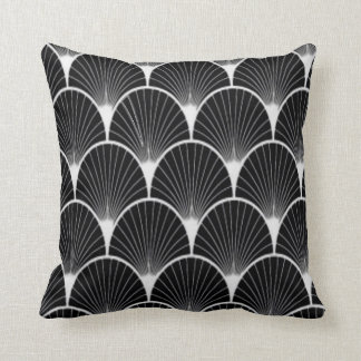 Gorgeous Black & White Art Deco Fan Design Pillow