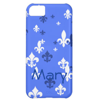 Gorgeous Blue and White Fleur de Lis Pattern iPhone 5C Cases