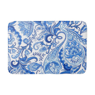 Gorgeous Blue White Floral Paisley Pattern Bath Mat