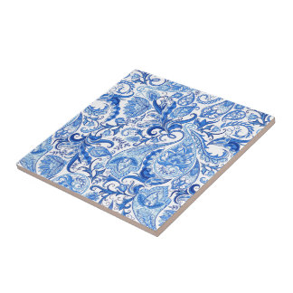 Gorgeous Blue White Floral Paisley Pattern Ceramic Tile