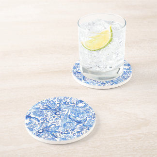 Gorgeous Blue White Floral Paisley Pattern Coaster