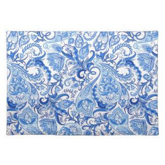 Gorgeous Blue White Floral Paisley Pattern Placemat