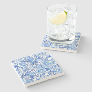 Gorgeous Blue White Floral Paisley Pattern Stone Coaster