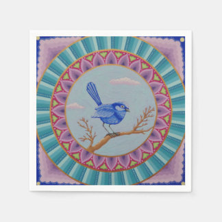 Gorgeous Blue Wren Mandala napkins Disposable Serviette