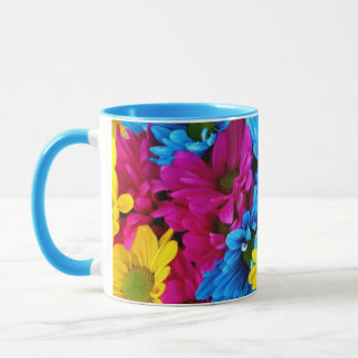 Gorgeous Blue, Yellow and Pink Daisies Coffee Mug