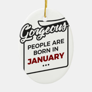 Gorgeous Born In January Babies Birthday Ceramic Ornament