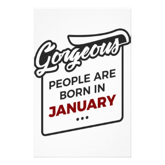 Gorgeous Born In January Babies Birthday Stationery