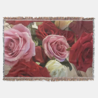 Gorgeous Bouquet of Roses Print Throw Blanket