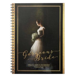 Gorgeous Bride Elegant Typography Photo Template Spiral Notebooks