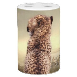 Gorgeous cheetah soap dispenser and toothbrush holder