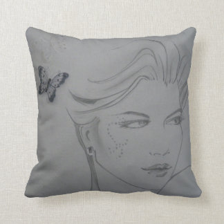 Gorgeous cushion with pencil sketch & butterflies