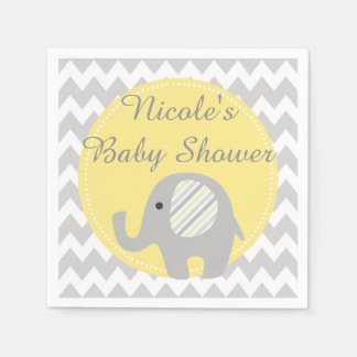 Gorgeous Custom Baby Shower Neutral Elephant Paper Napkin