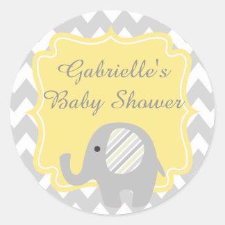 Gorgeous Custom Baby Shower Neutral Elephant Round Sticker