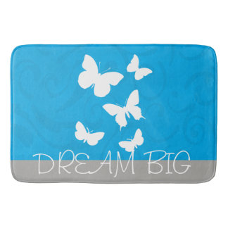 Gorgeous Cute and Stylish Blue and Gray Dream Big Bath Mat