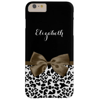 Gorgeous Dark Brown Ribbon Leopard Print With Name Barely There iPhone 6 Plus Case
