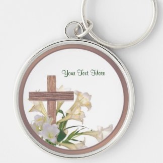Gorgeous! Easter Lilies & Wooden Cross Key Ring Silver-Colored Round Key Ring