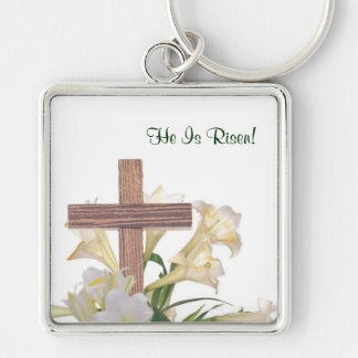 Gorgeous! Easter Lilies & Wooden Cross Key Ring Silver-Colored Square Key Ring