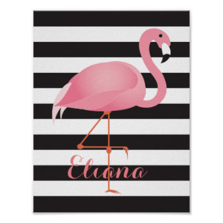 Gorgeous, elegant flamingo poster with name