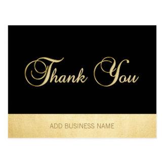Gorgeous Elegant Gold Black Business THANK YOU Postcard