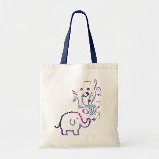 gorgeous elephant musical notes tote bag