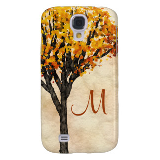 Gorgeous Fall Autumn Tree Monogram Initial Galaxy S4 Covers