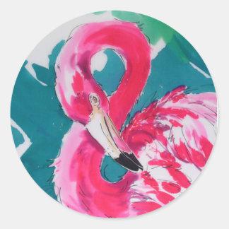 Gorgeous Flamingo Bird Tropical    Art Print Round Sticker