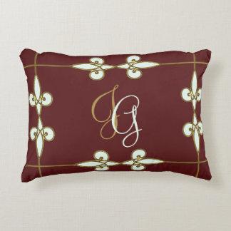 Gorgeous floral art nouveau vintage monogram decorative cushion