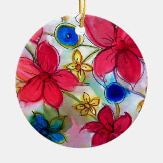Gorgeous Floral Design Goods Round Ceramic Decoration