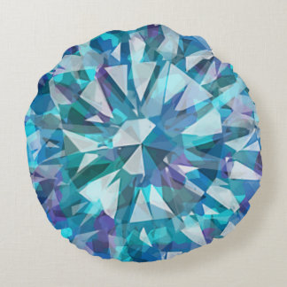 Gorgeous Gem with Blues and Purples Round Cushion