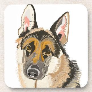 Gorgeous German Shepherd, Alsation Dog Drawing Coaster
