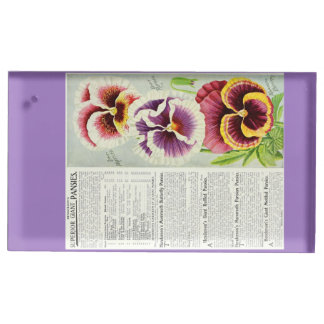 Gorgeous Giant Pansies Table Card Holder