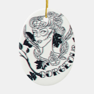 Gorgeous girl ceramic ornament