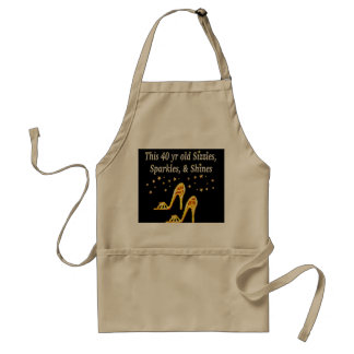 GORGEOUS GOLD 40TH SHOE QUEEN STANDARD APRON