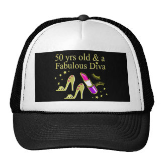 GORGEOUS GOLD 50TH BIRTHDAY DIVA DESIGN CAP