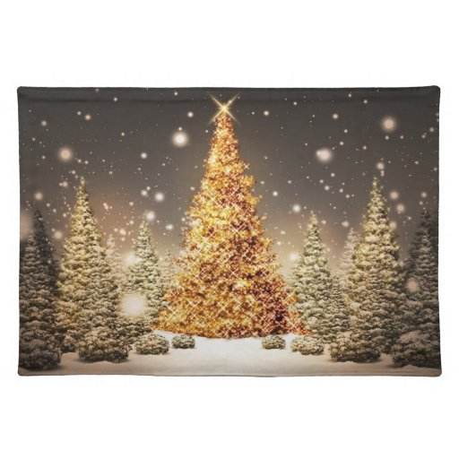 Gorgeous Gold Christmas Tree Placemats