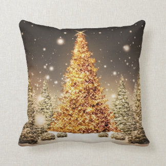 Gorgeous Gold Christmas Tree Throw Cushions