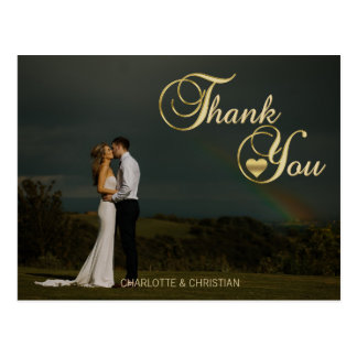 Gorgeous Gold Heart Photo Wedding THANK YOU Postcard