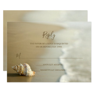 Gorgeous Gold Seashell Beach Wedding RSVP Card