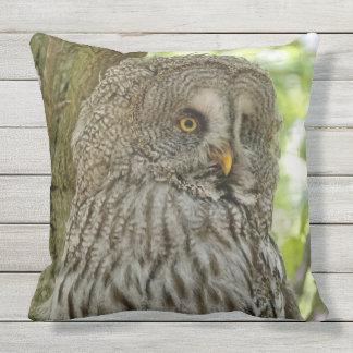 Gorgeous Great Grey Owl Print Throw Pillow