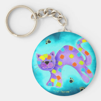Gorgeous Happy Aqua Cat with light blue background Key Ring