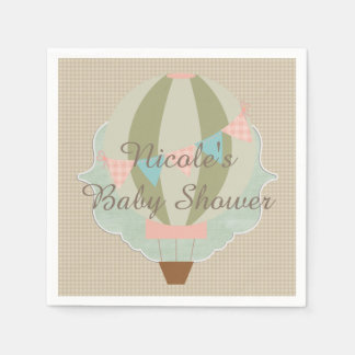 Gorgeous Hot Air Balloon Neutral Baby Shower Paper Napkins